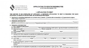 California Association of Realtors - Application To Rent / Screening Fee